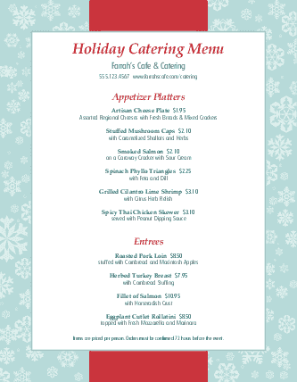holiday party catering menu design templates by musthavemenus