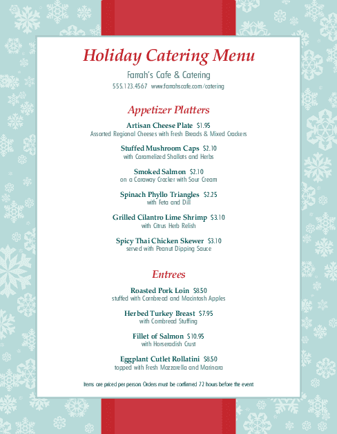 holiday party catering menu