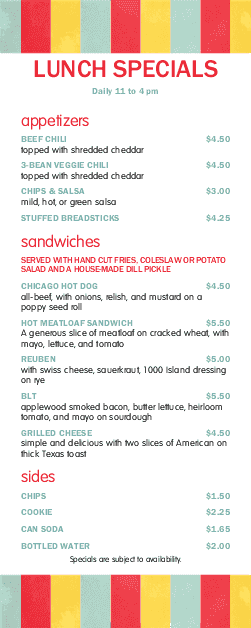 Customize Hot Dog Specials Menu