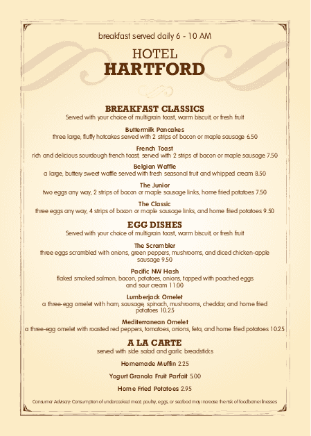 Customize A4 Hotel Breakfast Menu