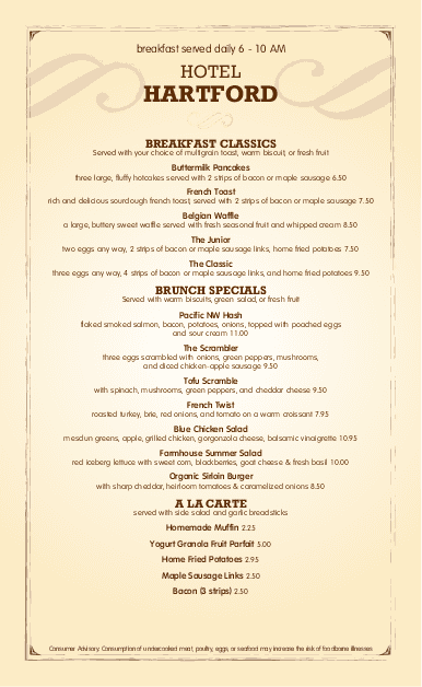 Customize Hotel Breakfast Long Menu