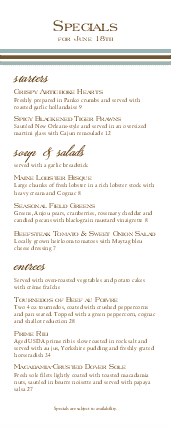 Customize Hotel Brunch Specials Menu