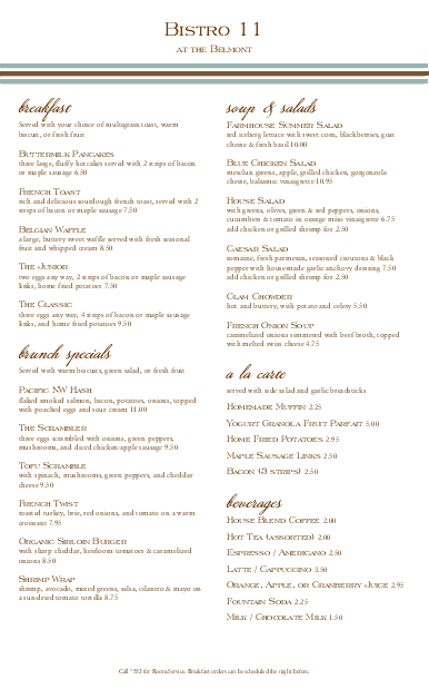 Customize Hotel Brunch Long Menu