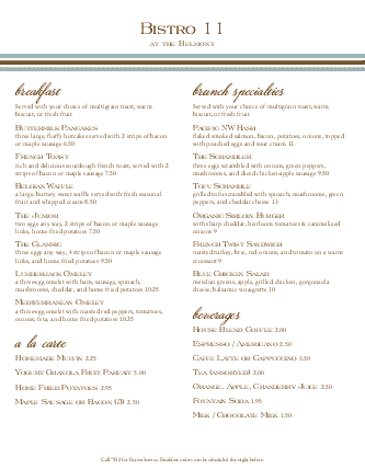 Customize Hotel Brunch Menu