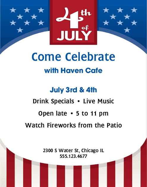 Independence day flyer 4th of july flyers for 4th of july menu template