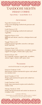 Customize Indian Dinner Specials Menu