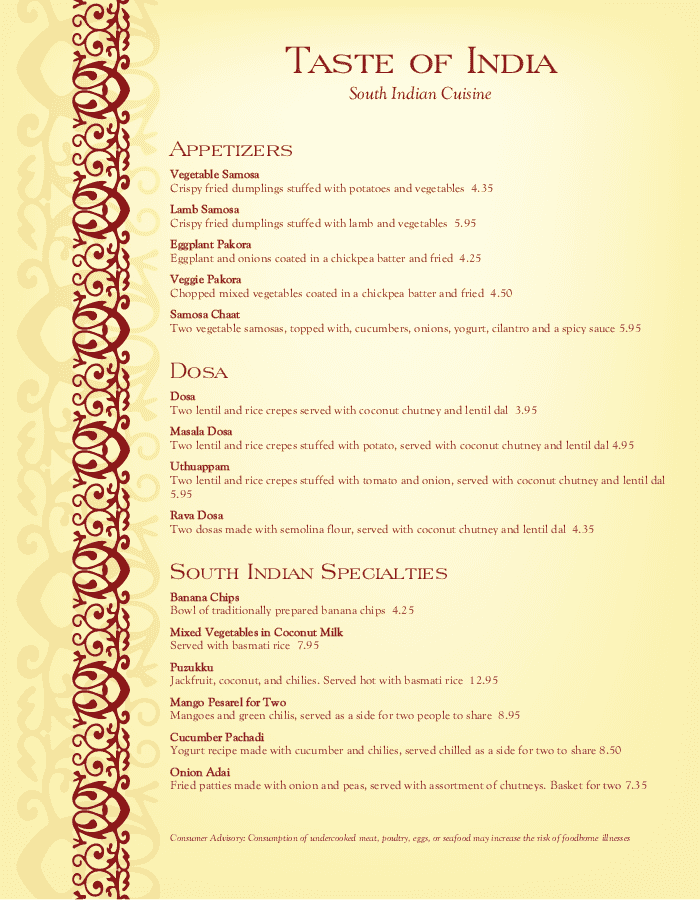 Indian Menu Template Designs - Easy to Edit - MustHaveMenus