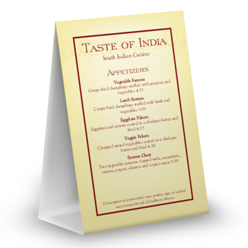 Indian Menu Table Tent