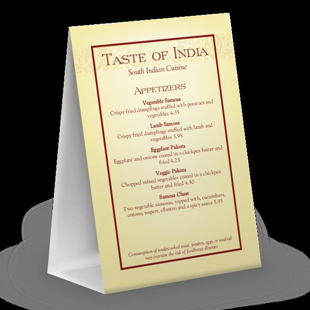 indian menu table tent design templates by musthavemenus