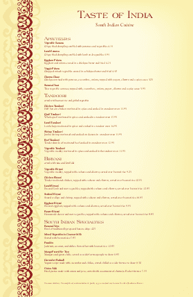 Customize Tabloid Indian Menu