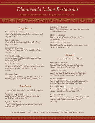 Customize Indian Restaurant Cafe Menu