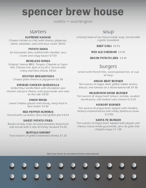 Customize Industrial Pub Menu