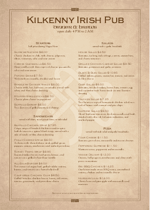 Customize Irish Tavern Menu A4