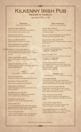 Customize Irish Food Menu