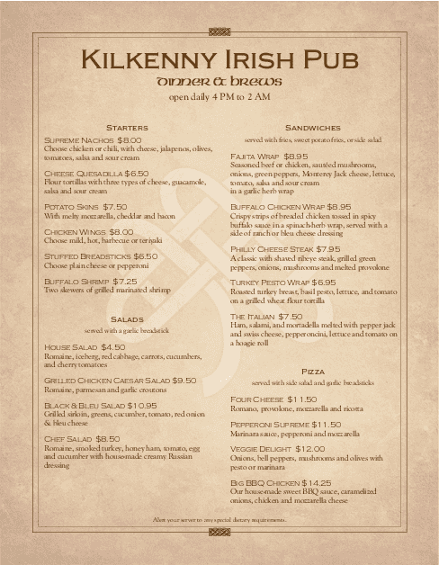 Customize Irish Beer Tavern Menu