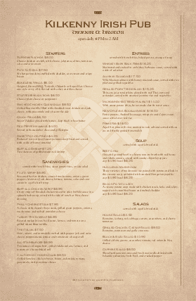 Customize Irish Tavern Large Menu