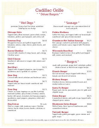 Customize Island Burger Menu