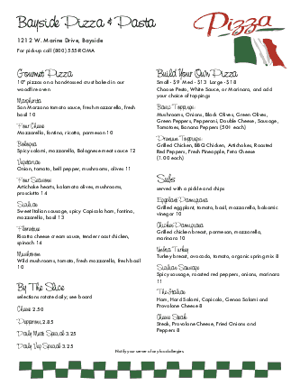 Customize Italian Flag Pizza Menu
