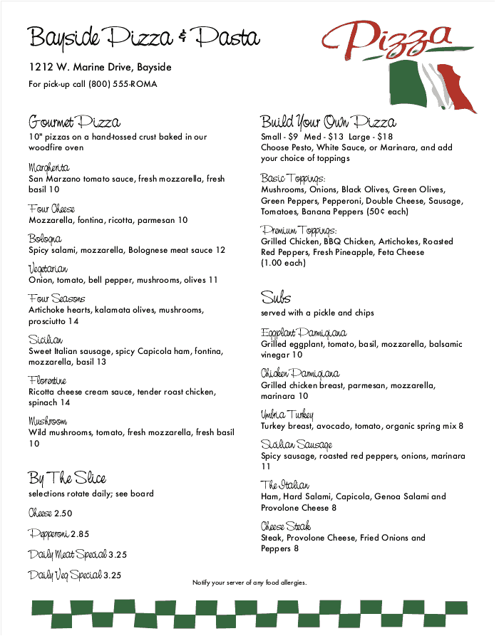 Italian Flag Pizza Menu