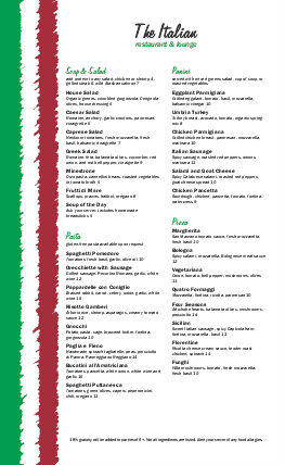 Customize Italian Food Menu