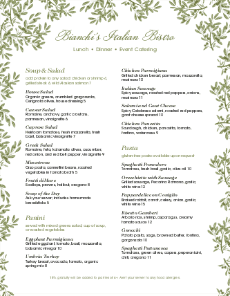 Customize Italian Inn Menu