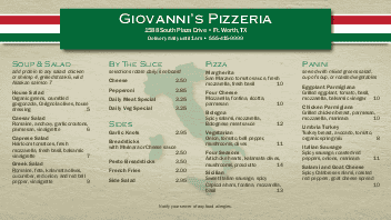 Italian Pizza Display Menu