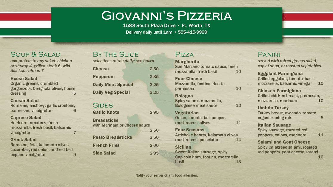 Customize Italian Pizza Display Menu