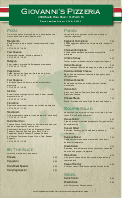 Italian Pizza Menu