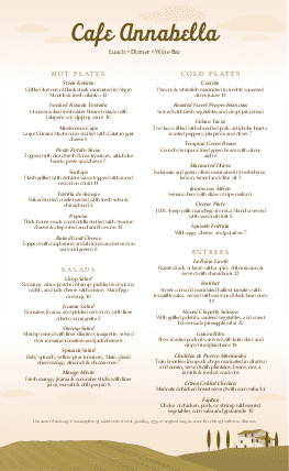 Customize Italian Trattoria Menu