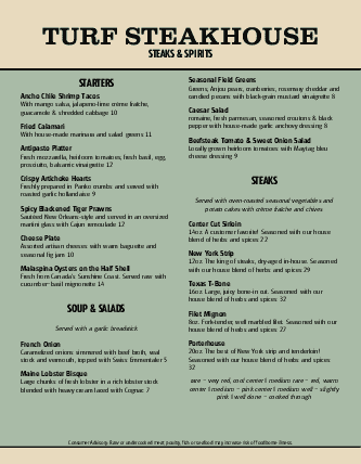 Customize Japanese Steakhouse Menu
