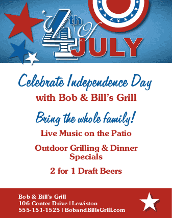 July fourth celebration flyer letter 4th of july flyers for 4th of july menu template