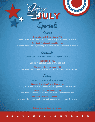 Customize July 4th Celebration Specials Menu