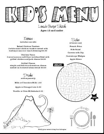 Customize Kids Restaurant Menu