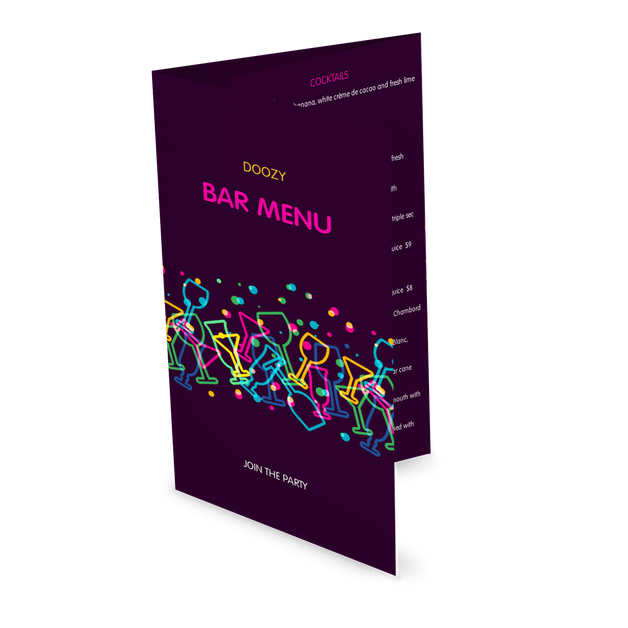 Customize Late Night Bar Folded Menu