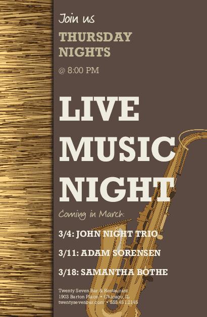 Live Music Event Flyer Restaurant Flyer
