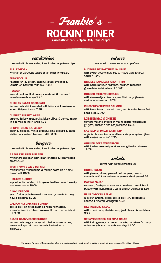 diner menu templates with authentic style musthavemenus