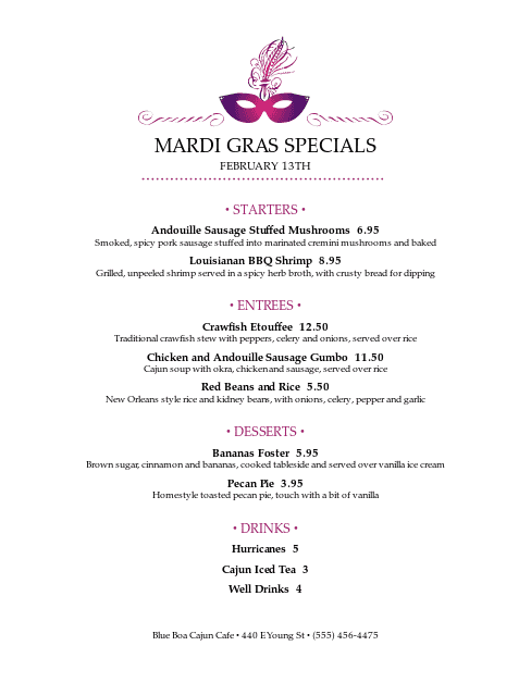 Customize Mardi Gras Menu