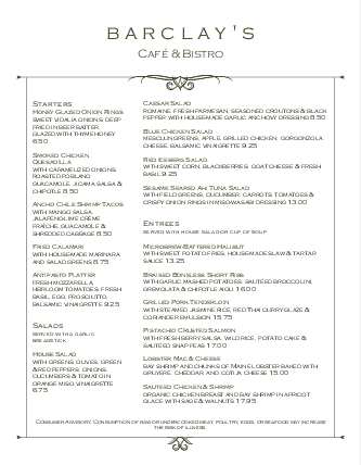 Customize City Inn Menu