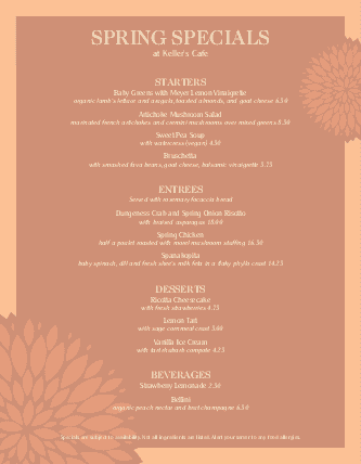 Customize May Specials Menu