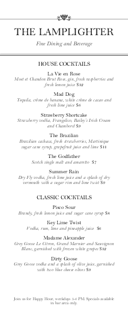 Customize Menu for Cocktail Bar