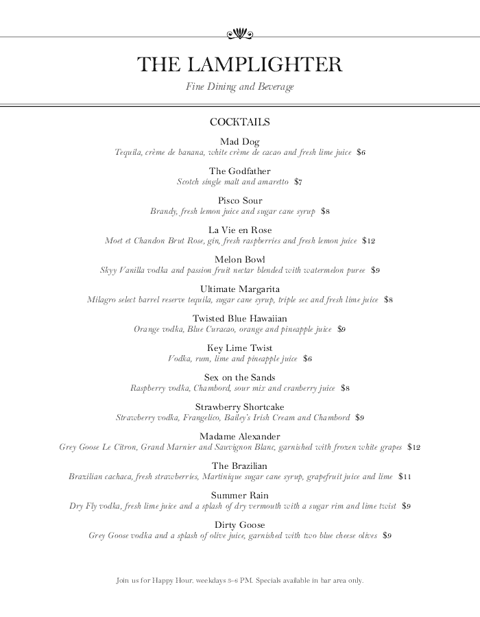 Menu for Cocktail Bar