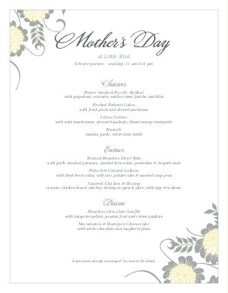 Customize Menu for Mothers Day
