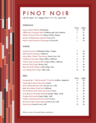 Customize Menu for Wine Bar