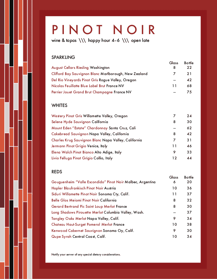 Menu for Wine Bar