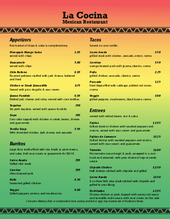 Customize Mexican Bar Menu