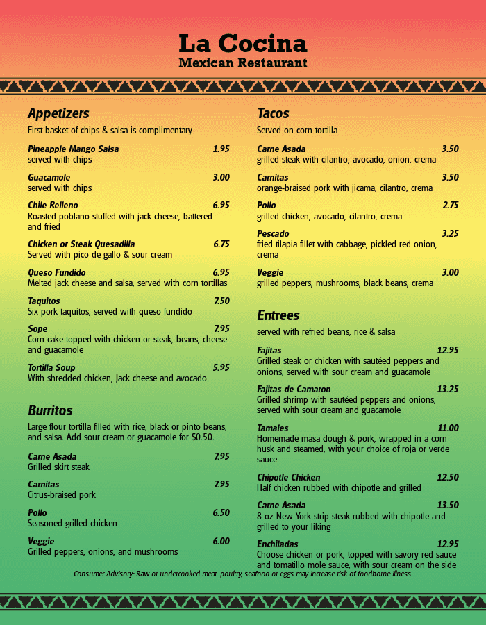 mexican menu templates with that authentic feel musthavemenus