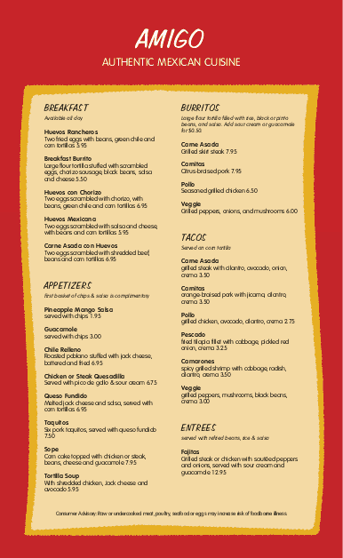 Customize Mexican Breakfast Menu