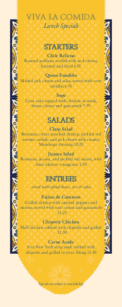 Customize Mexican Cantina Specials Menu