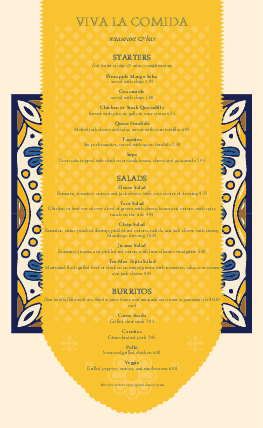 Customize Mexican Cantina Menu Long