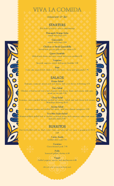 Customize Mexican Cantina Menu